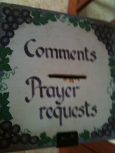Prayer request box at Christ Church in Jerusalem